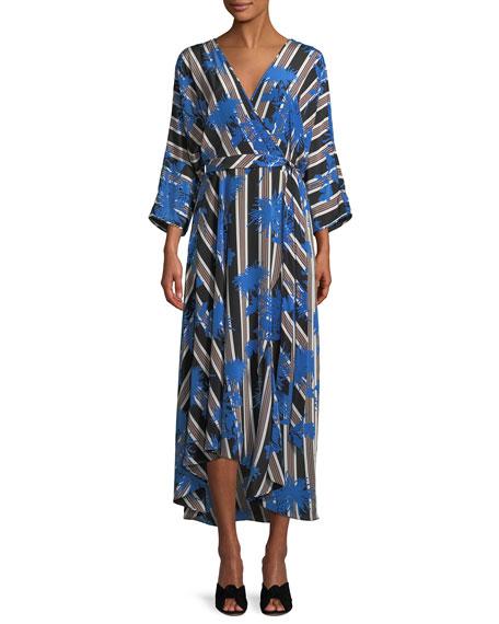 Diane von Furstenberg Eloise Striped Asymmetric Midi Wrap