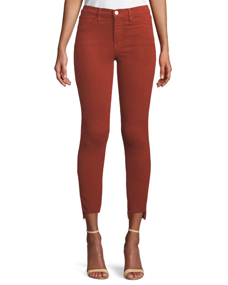 FRAME Le High Skinny Jeans with Raw Stagger