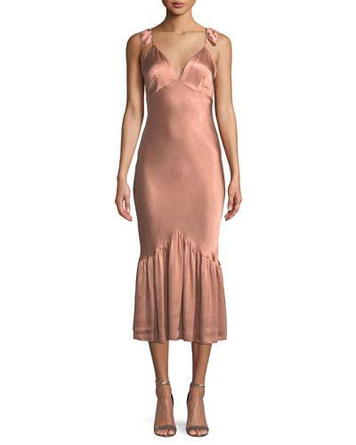 Caitlin Sleeveless Bias-Cut Satin Midi Dress