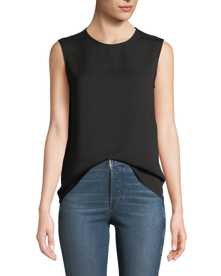 Diane von Furstenberg Sleeveless Crewneck Lace-Back Shell