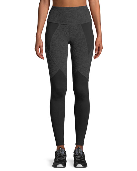Beyond Yoga High-Waist Space-Dye Paneled Full-Length Leggings