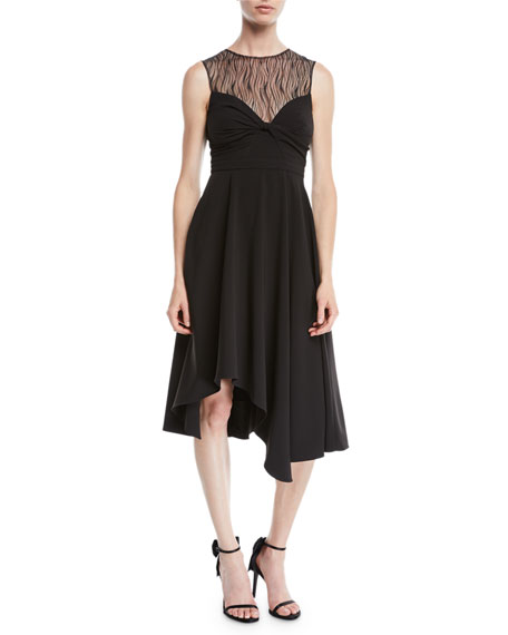 Halston Heritage Sleeveless Dress w/ Knot & Lace