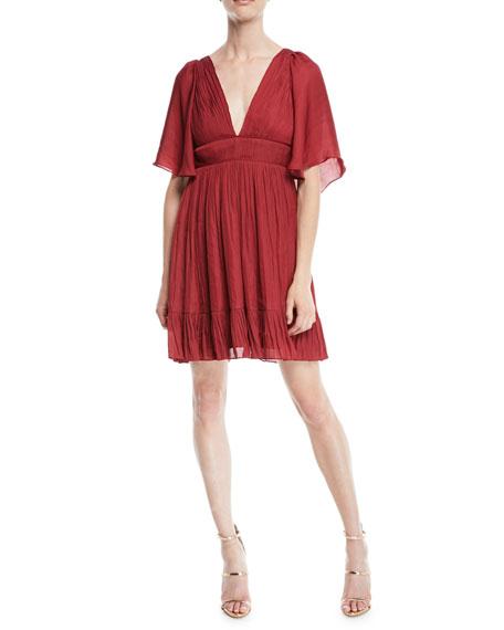 Halston Heritage Flowy Mini Dress w/ Capelet &