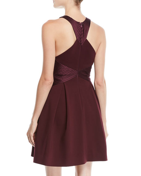 Sleeveless Structured Dress w/ Satin Strips