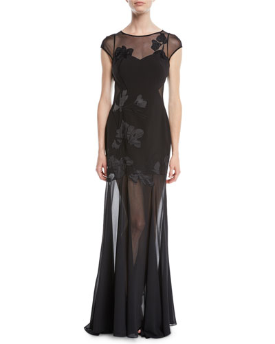 Embroidered Cap-Sleeve Gown w/ Sheer Overlay