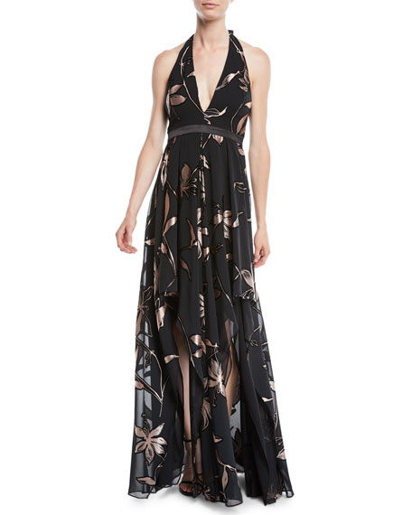 Floral Burnout Gown w/ Double-Slit Front