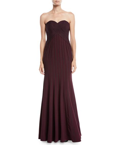 Strapless Flowy Gown w/ Satin Strips