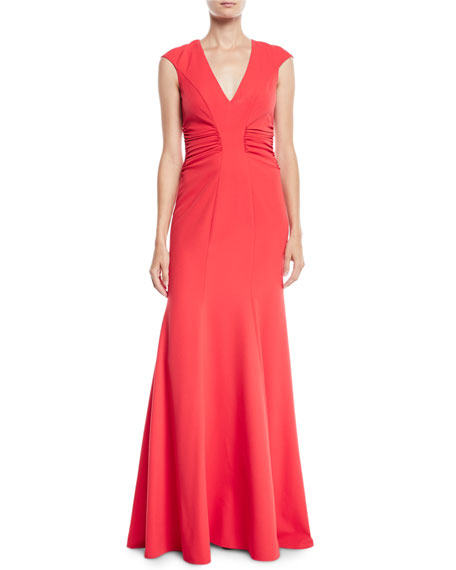 Crepe Gown w/ Ruched Details
