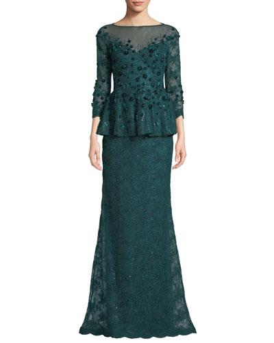 Velvet Flower & Lace Peplum Gown
