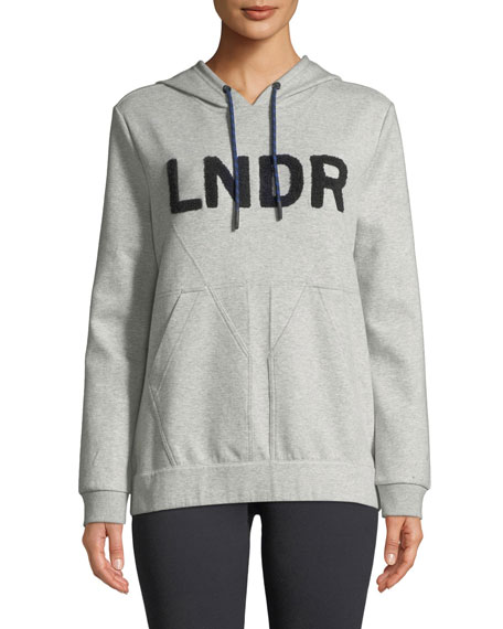 LNDR College Hooded Boucle-Logo Jersey Sweatshirt