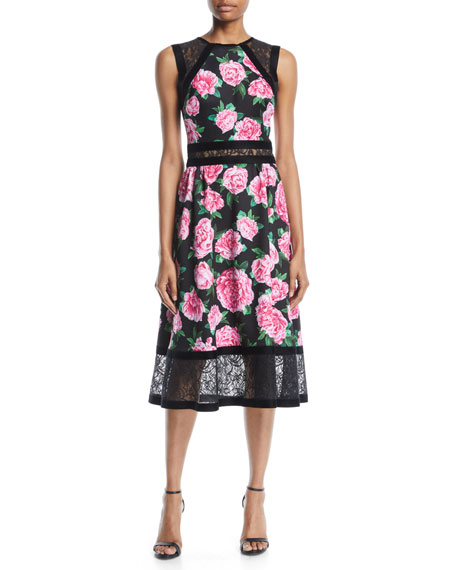 Floral-Print Neoprene Midi Dress w/ Lace Details