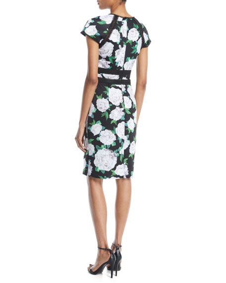 Cap-Sleeve Floral Sheath Dress w/ Lace Insert at Front