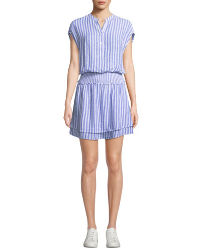 Angelina Striped Button-Front Short Dress