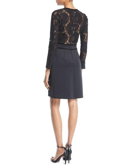 Long-Sleeve Floral Lace & Neoprene Dress