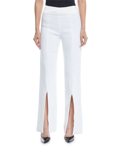 Satin-Combo Front-Slit Pants