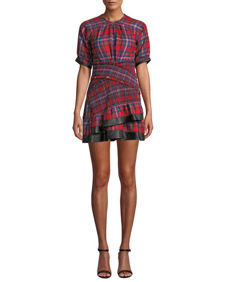 Tanya Taylor Nicole Plaid Flannel Ruffle Mini Dress