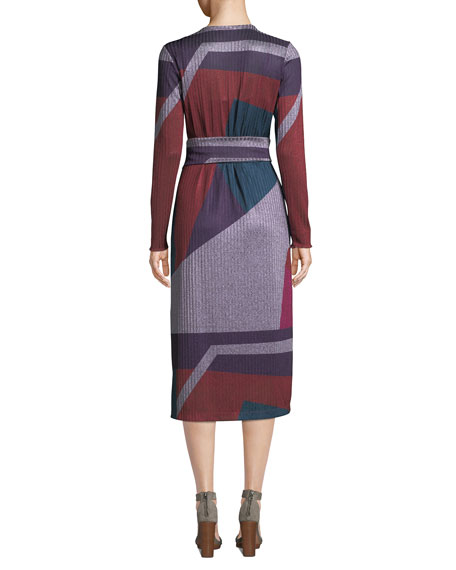 Ellie Colorblock Long-Sleeve Wrap Dress