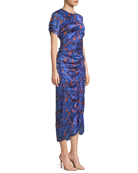 Audra Ruched Floral Burnout Midi Dress
