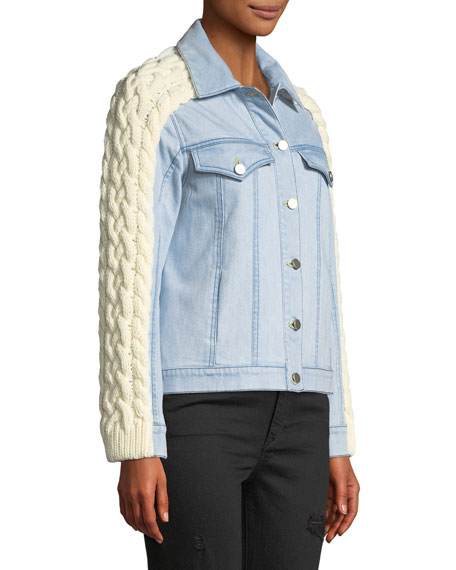 Percy Denim Jacket with Cable-Knit Trim