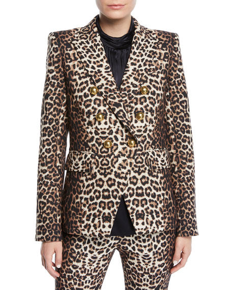 Miller Double-Breasted Leopard-Print Jacket, Brown