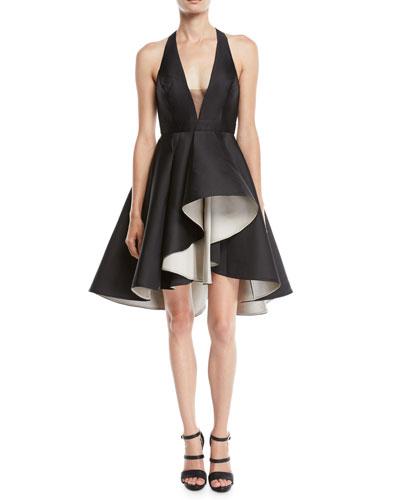 Colorblock Mini Dress w/ Dramatic Skirt