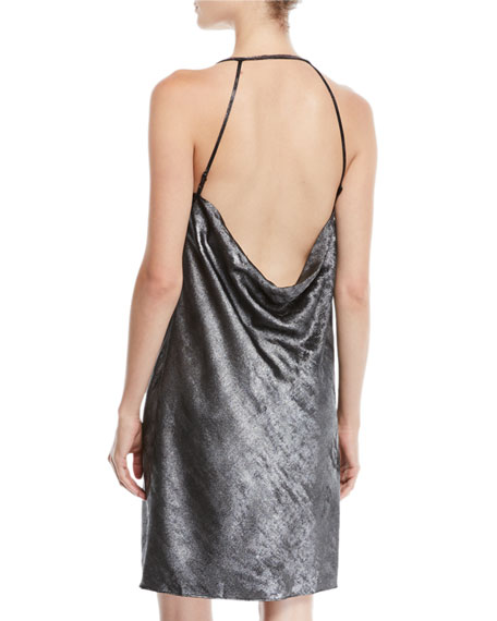 Drape-Back Metallic Georgette Slip Dress