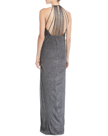 Metallic Knit Halter Gown w/ Strappy Back