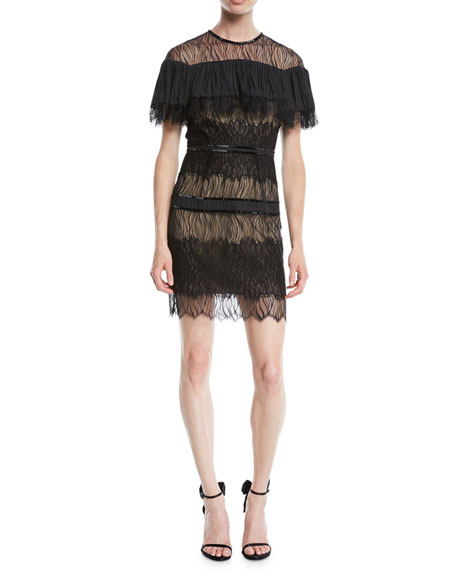 Halston Heritage Pleated Lace Mini Dress w/ Beading