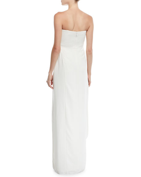 Strapless Crepe Gown w/ Draped Front