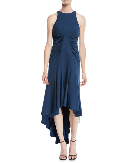 Halston Heritage High-Low Halter Dress w/ Ruched Details