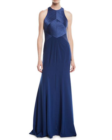 Halter Gown w/ Satin Stripe Bodice