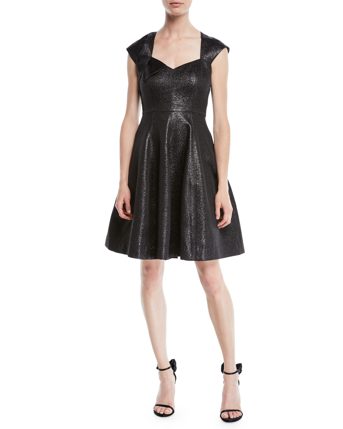 65992140 Halston Heritage Structured Metallic Cap-Sleeve Dress | Neiman Marcus