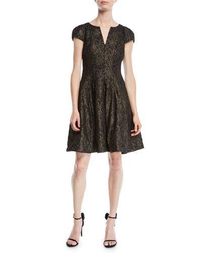 Metallic Lace Cap-Sleeve Cocktail Dress w/ Slit Neck