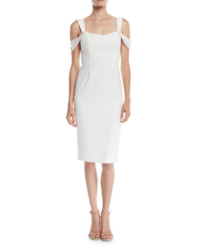 Slim Crepe Cold-Shoulder Cocktail Dress