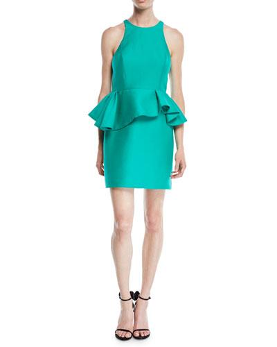 Fitted Halter Dress w/ Peplum Waist