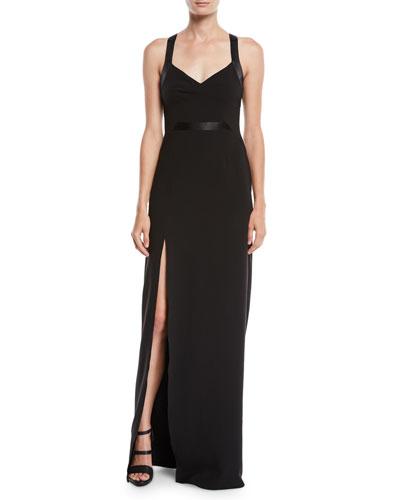 Crepe V-Neck Gown w/ Satin Contrast