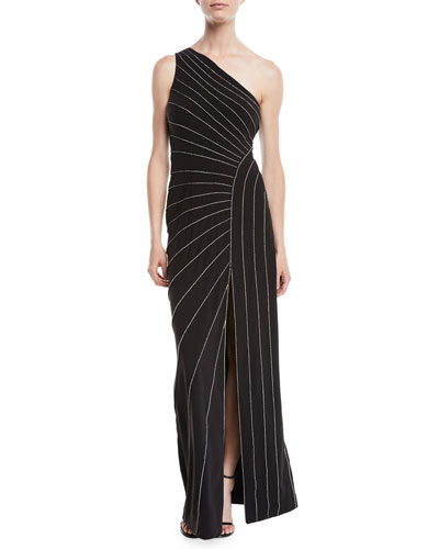 One-Shoulder Gown w/ Chain Piping