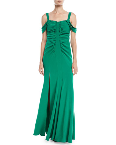 Cold-Shoulder Ruched Gown