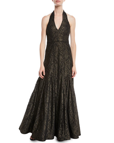 Metallic Lace Halter Gown