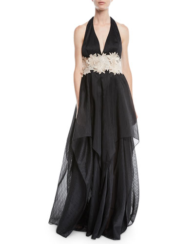 Organza Halter Gown w/ Embroidered Waist