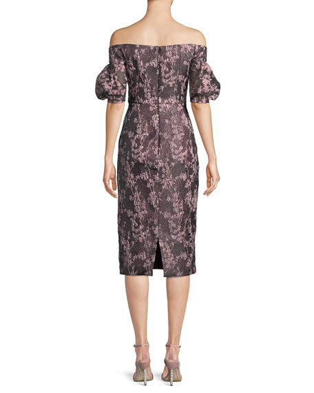 Off-the-Shoulder Jacquard & Organza Dress