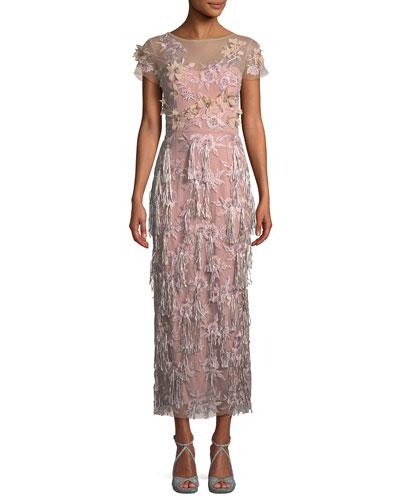 Cap-Sleeve 3-D Floral & Tassels Embroidered Long Formal Dress