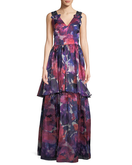 David Meister V-Neck Sleeveless Floral-Print Tiered Evening Gown