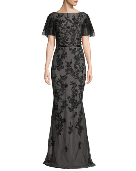 Floral Embroidered Gown w/ Flutter Sleeves