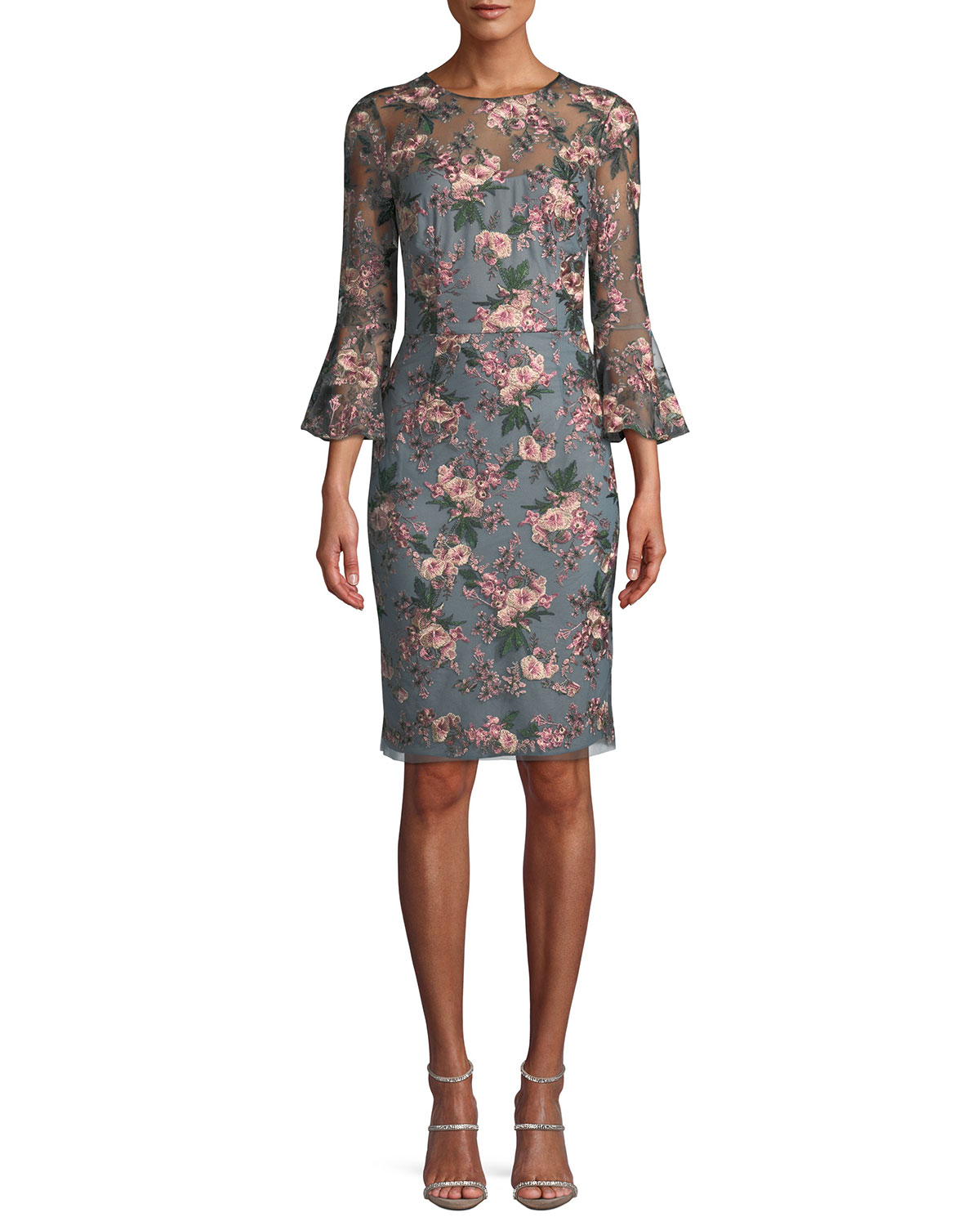 4d5ad037d7 David MeisterFloral-Embroidered Lace Trumpet-Sleeve Sheath Cocktail Dress