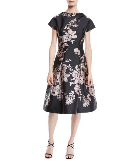 TERI JON BY RICKIE FREEMAN High-Neck Cap-Sleeve Fit-And-Flare Floral-Jacquard Cocktail Dress in Black/Pink