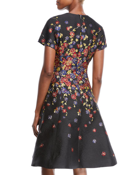 Short-Sleeve Floral-Print Jacquard Fit-and-Flare Knee-Length Cocktail Dress