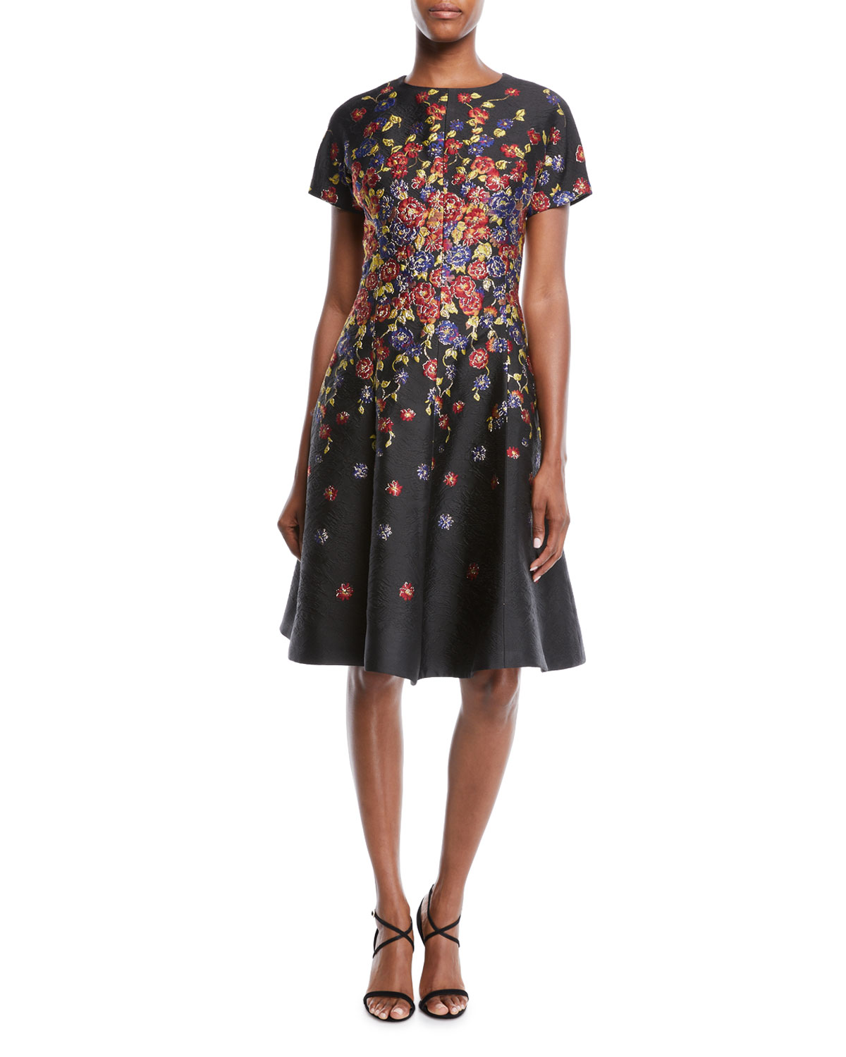 Rickie Freeman for Teri JonShort-Sleeve Floral-Print Jacquard Fit-and-Flare  Knee-Length Cocktail Dress df88763f4