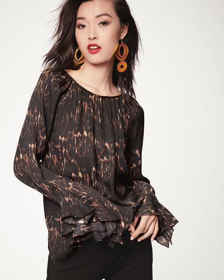 Lee Ruffle-Sleeve Blouse in Leopard-Print Silk