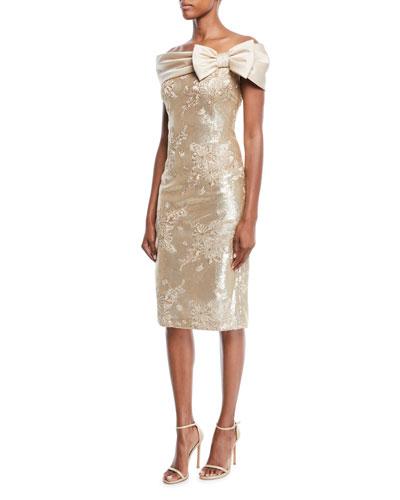 Portrait-Neck w/ Bow Sequin Lace Sheath Cocktail Dress